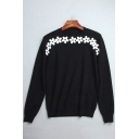 Fashion Floral Diamante Pattern Long Sleeve Round Neck Pullover Sweater