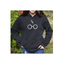 Stylish Lightning Scar Eyeglasses Glasses Letter Printed Long Sleeves Pullover Hoodie with Pocket