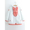 Adorable Bow Zippered Color Block Long Sleeve Hooded Padded Coat