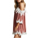 Summer Fashion Spaghetti Straps Lace Panel Mini Cami Shift Dress