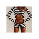Trendy Striped Pattern Drawstring Waist Slim-Fit Hot Pants