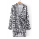 New Stylish Totem Print Long Sleeve Wrap Tie Front Mini Dress