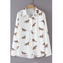 Chic Cat Print Button Down Long Sleeve Lapel Shirt