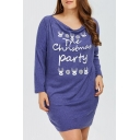Fashion Letter Christmas Elk Print Long Sleeve Loose Mini Dress