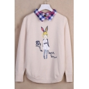 Cute Cartoon Girl Letter Print Fake Two-Piece Plaid Collar Pullover Sweater