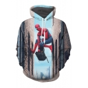 Cool Climbing Superhero Building Movie Character Printed Long Sleeves Pullover Hoodie with Pocket
