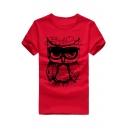 Stylish Round Neck Short Sleeve Owl & Letter Print T-shirt