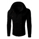 New Stylish Zip Up Long Sleeve Hooded Simple Plain Coat