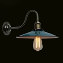 Industrial Wall Sconce with 11''W Green Saucer Shade in Barn Style