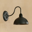 Industrial Wall Lamp with 7.87''W Dome Metal Shade and Gooseneck Fixture Arm