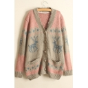New Trendy Color Block Deer Print Long Sleeve V-Neck Cardigan