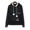 New Stylish Print Pompon Embellished Long Sleeve Pocket Hoodie