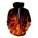 Fashionable 3D Fire Print Drawstring Hood Long Sleeve Hoodie