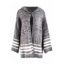 Trendy Striped Print Long Sleeve Split Side Tunic Hooded Cardigan