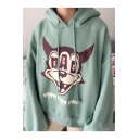 Simple Wolf Cartoon Pattern Long Sleeves Pullover Over-Sized Loose Hoodie