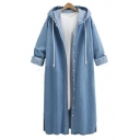 Casual Long Sleeves Button-Down Drawstring Hooded Longline Loose Denim Coat