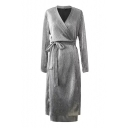 Casual V-Neck Long Sleeves Bow Tie Belted Plain Midi Pencil Wrap Dress