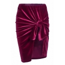 Hot Fashion Simple Plain Tie Front Zip Fly Asymmetric Hem Skirt