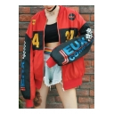 Color Block Letter Print Zip Up Stand-Up Collar Long Sleeve Jacket