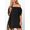 Simple Plain Off The Shoulder Half Sleeve Buttons Down Shirt Mini Dress