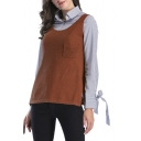Hot Fashion Scoop Neck Simple Plain Split Side Tank Sweater with Pocket