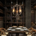Industrial 3 Light Chandelier with Cylinder Metal Mesh in Pipe Style