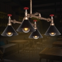 Industrial 4 Light Pipe Chandelier with Valve and Cone Metal Shade