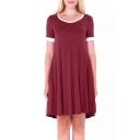 Simple Contrast Trim Round Neck Short Sleeve T-shirt Mini Dress