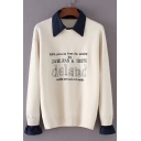 Letter Print Round Neck Long Sleeve Pullover Sweater with Detachable Denim Lapel