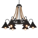 Industrial 37''W Chandelier with Gooseneck Fixture Arm and Metal Shade in Black, 6 Light