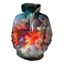 3D Color Block Abstract Painting Print Long Sleeve Hoodie