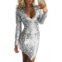 Sexy Brilliant Floral Sequined Pattern Plunge Neck Asymmetrical Hem Bodycon Mini Dress