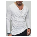 Hot Fashion Simple Plain Long Sleeve Cowl Neck Tee