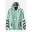 Stylish Striped Layered Long Sleeves Color Block Long Sleeves Pullover Hoodie with Pocket