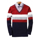Winter Fashion Color Block Striped Pattern V-Neck Long Sleeves Pullover Sweater