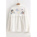 Stylish Lapel Letter Embroidery Long Sleeves Snap Button Fluffy Hem Shirt Coat