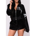 Simple Letter Print Long Sleeve Zipper Hoodie Shorts Casual Co-ords