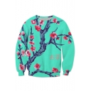 New Stylish Floral Print Long Sleeve Round Neck Pullover Sweatshirt