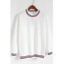 Women's Fashion Striped Trimmed Round Neck Long Sleeves Pullover Loose Sweatshirt