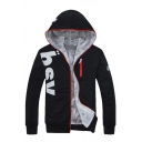 New Stylish Letter Print Long Sleeve Zipper Hooded Warm Coat