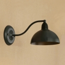Industrial Wall Sconce with 7.87''W Dome Shade in Black