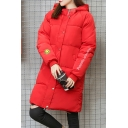 New Fashion Smile Face Embroidered Hooded Long Sleeve Longline Padded Coat