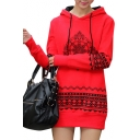 Fashionable Tribal Print Long Sleeve Drawstring Hood Mini Dress