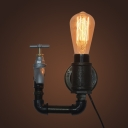 Industrial Wall Sconce with Valve in Bare Bulb Style