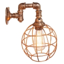 Industrial Pipe Wall Sconce with Globe Metal Cage in Rust