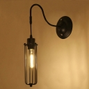Industrial Wall Sconce with Adjustable Fixture Arm and Mini Metal Cage