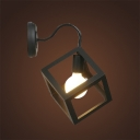 Industrial Wall Sconce with Cube Metal Cage in Black Finish