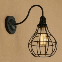 Industrial Wall Sconce with Teardrop Metal Cage in Black Finish