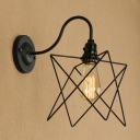 Industrial 7.09''W Wall Lamp with Metal Cage in Black Finish