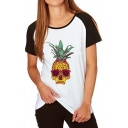 Fashion Skull Pineapple Print Short Sleeve Round Neck Tee